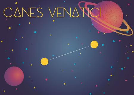 Bright image of the constellation Canes Venatici. Kids who are fond of astronomy will like it very much. 向量圖像