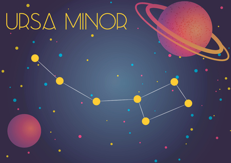Bright image of the constellation Ursa Minor. Kids who are fond of astronomy will like it very much. Illustration