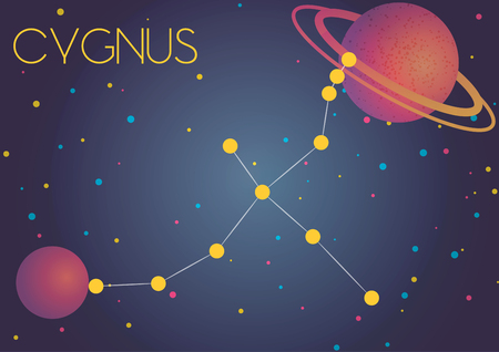 Bright image of the constellation Cygnus. Kids who are fond of astronomy will like it very much.