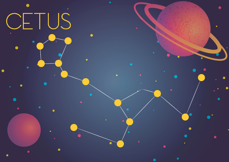 Bright image of the constellation Cetus. Kids who are fond of astronomy will like it very much. Illustration