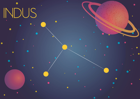 Bright image of the constellation Indus. Kids who are fond of astronomy will like it very much. Illustration