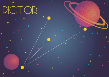 Bright image of the constellation Pictor. Kids who are fond of astronomy will like it very much.