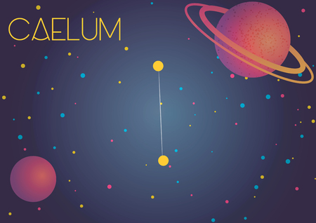 Bright image of the constellation Caelum. Kids who are fond of astronomy will like it very much.