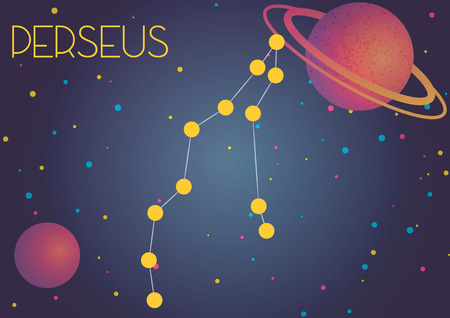 Bright image of the constellation Perseus. Kids who are fond of astronomy will like it very much.