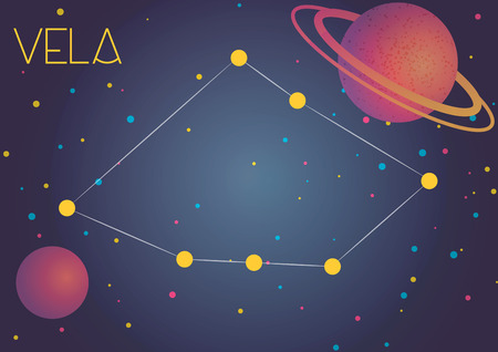 Bright image of the constellation Vela. Kids who are fond of astronomy will like it very much. Illustration