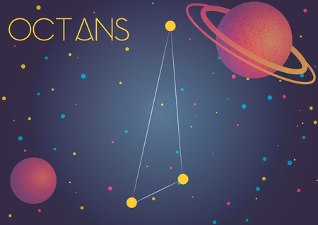 Bright image of the constellation Octans. Kids who are fond of astronomy will like it very much.