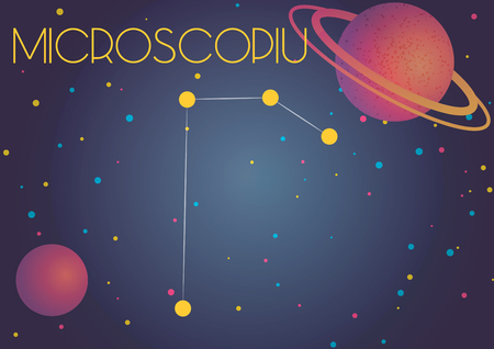 Bright image of the constellation Microscopium. Kids who are fond of astronomy will like it very much. Illustration