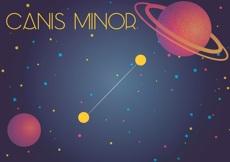 Bright image of the constellation Canis Minor. Kids who are fond of astronomy will like it very much. Stock Illustratie