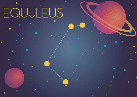 Bright image of the constellation Equuleus. Kids who are fond of astronomy will like it very much.  イラスト・ベクター素材