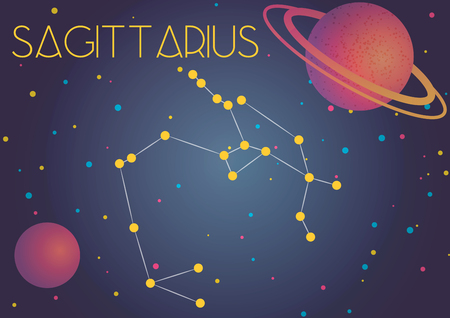 Bright image of the constellation Sagittarius. Kids who are fond of astronomy will like it very much. Illustration