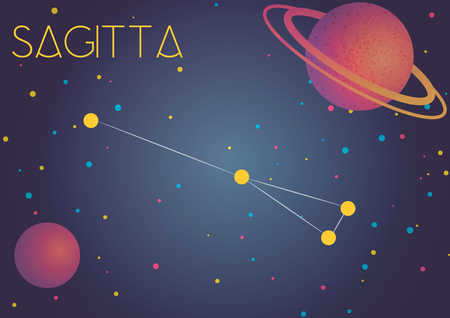 Bright image of the constellation Sagitta. Kids who are fond of astronomy will like it very much.