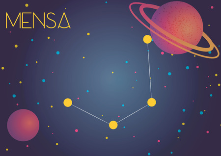 Bright image of the constellation Mensa. Kids who are fond of astronomy will like it very much.