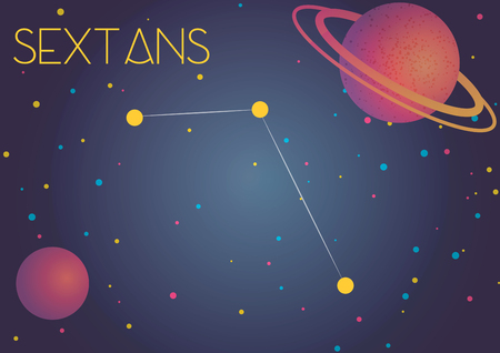 Bright image of the constellation Sextans. Kids who are fond of astronomy will like it very much.