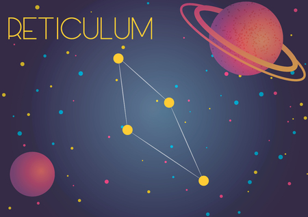Bright image of the constellation Reticulum. Kids who are fond of astronomy will like it very much.