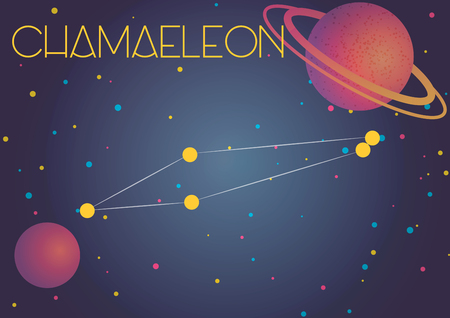 Bright image of the constellation Chamaeleon. Kids who are fond of astronomy will like it very much. 向量圖像