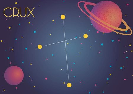 Bright image of the constellation Crux. Kids who are fond of astronomy will like it very much. Illustration