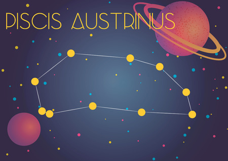 Bright image of the constellation Piscis Austrinus. Kids who are fond of astronomy will like it very much.