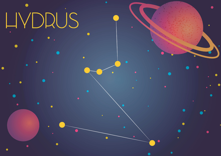 Bright image of the constellation Hydrus. Kids who are fond of astronomy will like it very much. Illustration