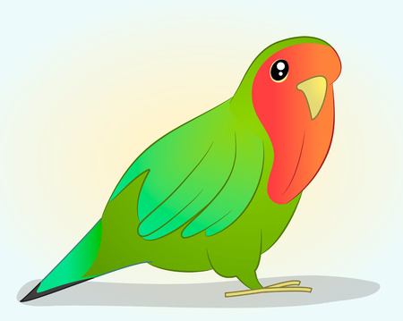 Bright parrot in cartoon style on a simple background