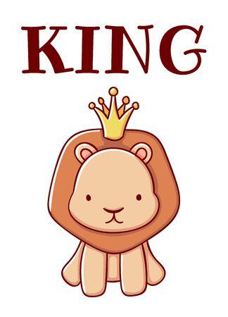 Cute lion cartoon kawaii print king flat hand drawn isolated on white background Ilustrace