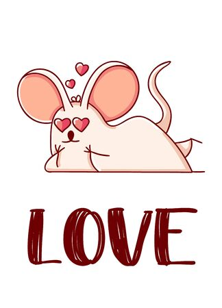 Cute mouse cartoon kawaii flat love hand drawn isolated on white background
