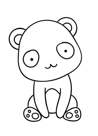 Coloring pages, black and white cute hand drawn panda doodles