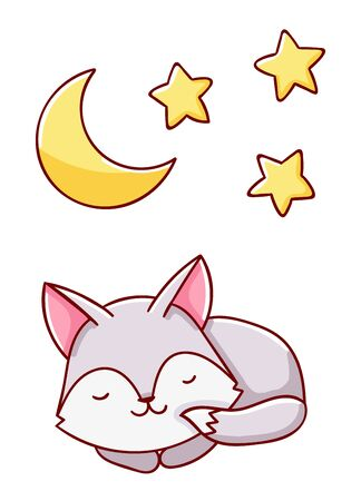 Cute kawaii hand drawn wolf and moon and stars doodles, isolated on white background, print