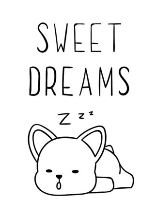 Coloring pages, black and white cute kawaii hand drawn corgi dog doodles, lettering sweet dreams, print Ilustração