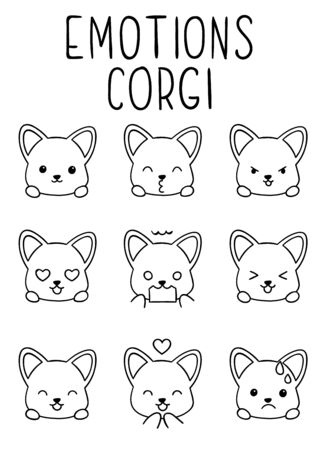 Coloring pages, black and white cute kawaii hand drawn emotions corgi dog doodles, print