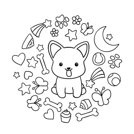 Coloring pages, black and white cute kawaii hand drawn corgi dog doodles, circle print , print