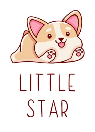 Cute kawaii hand drawn corgi dog doodles, lettering little star, isolated on white background, print Ilustração