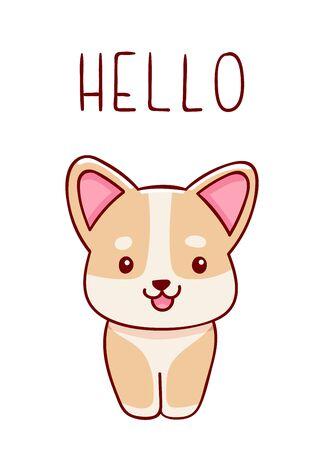 Cute kawaii hand drawn corgi dog doodles, lettering hello, isolated on white background, print Illusztráció