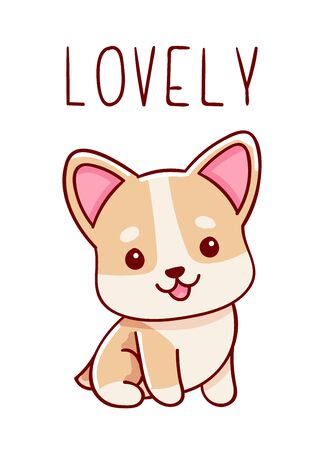 Cute kawaii hand drawn corgi dog doodles, lettering lovely , isolated on white background, print