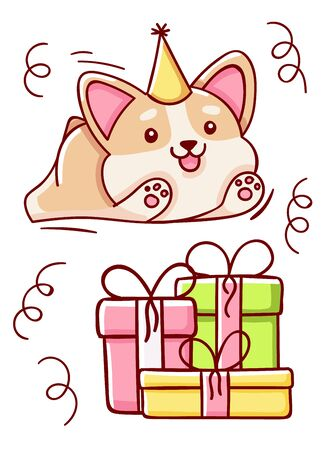 Happy birthday, cute kawaii hand drawn corgi dog and gift doodles, isolated on white background, print