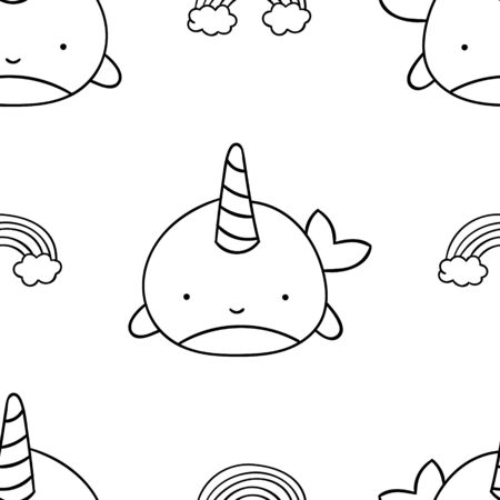 Simple seamless pattern, black and white cute kawaii hand drawn narwhal doodles, coloring pages, print Illustration