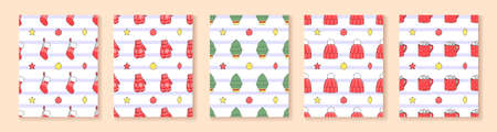 Set of Christmas and Happy New Year illustrations. Christmas tree, hristmas sock, mittens, winter hat, hot chocolate. Seamless pattern.