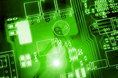 green printed-circuit board for electronic components photo