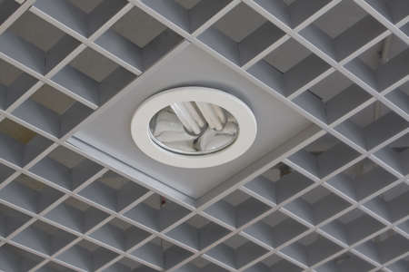 built in: Decorative ceiling with the built in fixture and a power saving up lamp