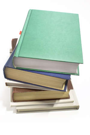 Pile of books, taken picture close up on a white background photo
