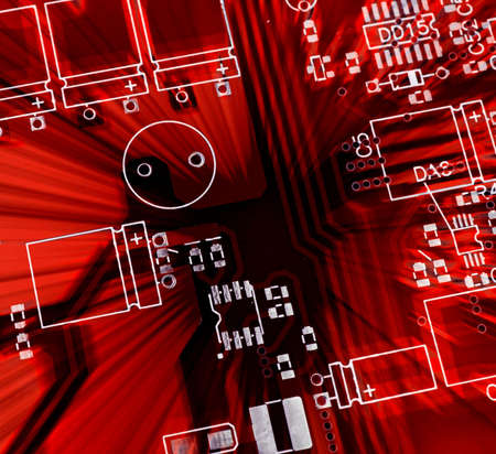 Red printed-circuit board for electronic components photo