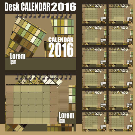 desk calendar: Stylish desk calendar 2016 - olive green