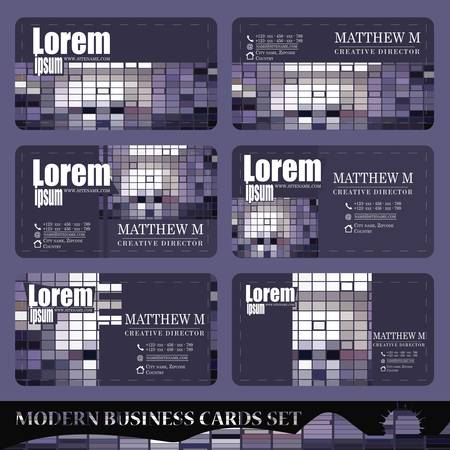 business cards: Set of business cards - gray purple