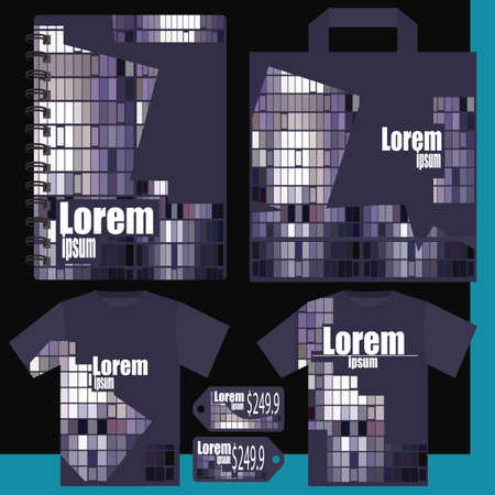 price list: T-shirt, price list, a notepad, a package - gray purple Illustration