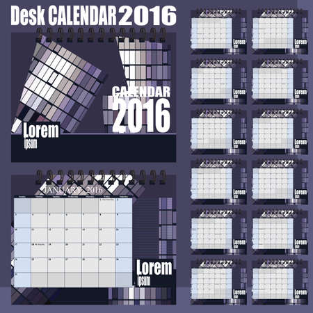 desk calendar: Desk Calendar 2016 Design Template. Set of 12 Months. Week Starts Monday - gray purple Illustration