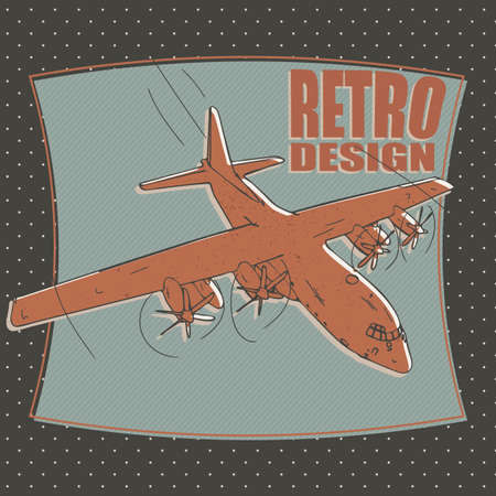 military plane or airplane, bomber - retro style