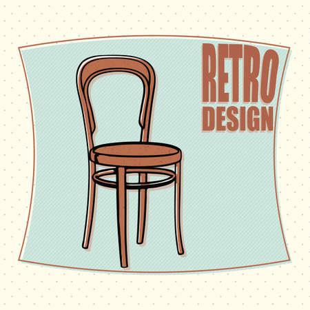 silla de madera: Silla de madera - designe retro, estilo de dibujos animados. Vector Vectores