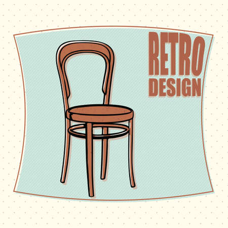 office chair: Wooden chair - retro designe, cartoon style. Vector