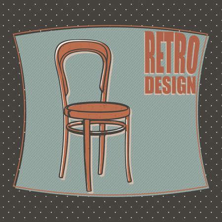 designe: Wooden chair - retro designe, cartoon style. Vector