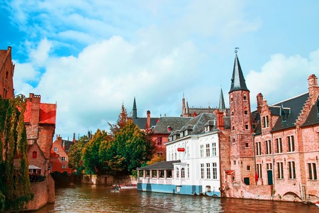Rozenhoedkaai, Historic Centre of Bruges, Scenery with water canal, Venice of the North , cityscape of Flanders, Belgium Stock Photo
