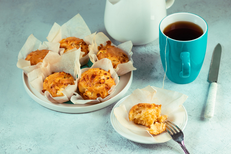 Homemade double cheese muffins with feta and mozzarella. Tasty easy cooking snack.